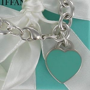 Tiffany PLEASE RETURN Blue Enamel Heart Bracelet